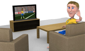 papercraft TV and lounge